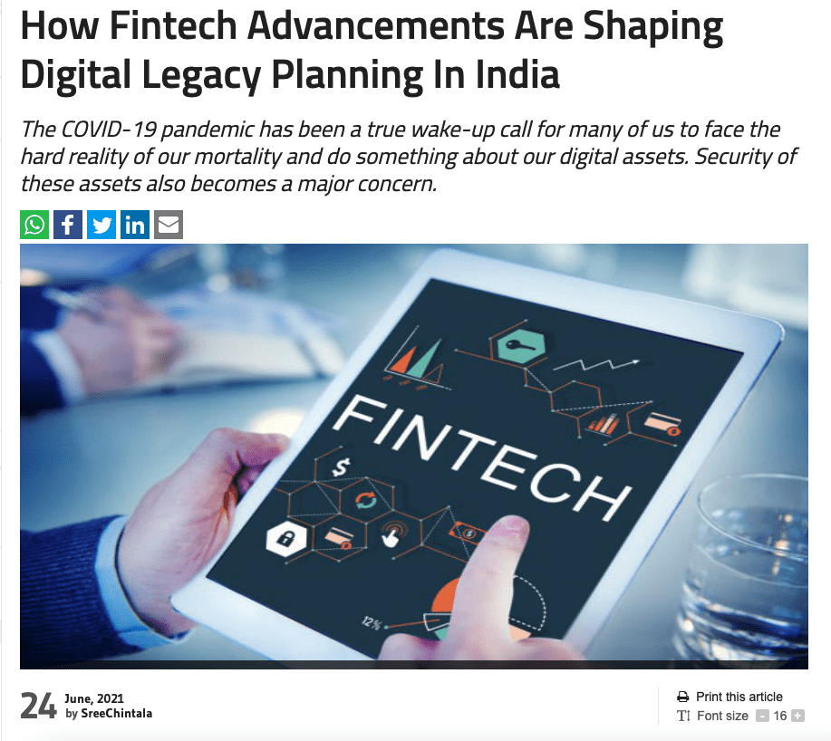 BusinessWorld: How Fintech Advancements Are Shaping Digital Legacy Planning In India